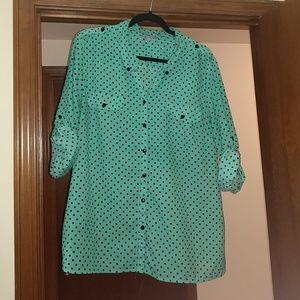 Green Button Up Shirt w/ Black Polka Dots